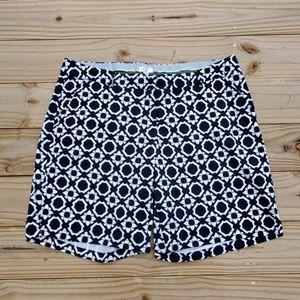 Navy Blue and White Geometric Pattern Shorts